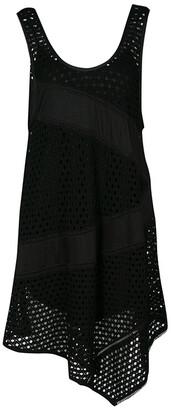 Marc by Marc Jacobs Black Eyelet Jersey Asymmetric Sleeveless Yuki Dress S