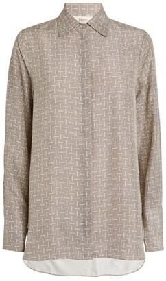 MARK KENLY DOMINO TAN Silk Printed Bertine Shirt