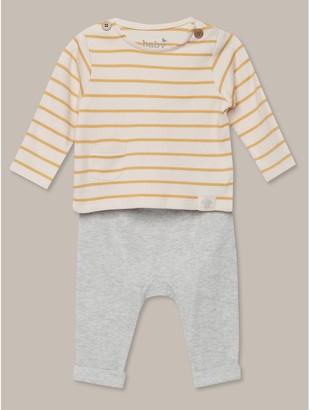 M&Co Stripe top and joggers set (Newborn-12mths)
