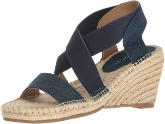 Adrienne Vittadini Footwear Women's Charlene Espadrille Wedge Sandal Blue 10 M US
