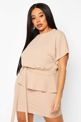 boohoo Plus Slash Neck Tie Waist Skater Dress
