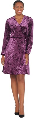H by Halston Petite Crushed Velvet Blouson Sleeve Knee- Length Dress