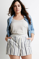 Forever 21 Plus Size Striped Drawstring Shorts