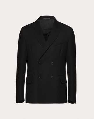 Valentino Double-breasted Jacket In Double-layer Wool Man Black Virgin Wool 100% 52