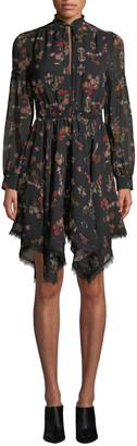 Derek Lam 10 Crosby High-Neck Printed Silk Long-Sleeve Handkerchief Dress