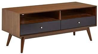 Mid-Century MODERN Rivet Wood Media TV Console Coffee Table