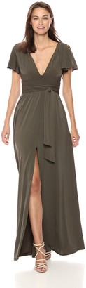 Halston Women's Flutter Short Sleeve Deep V Wrap Jersey Gown