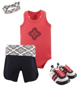Yoga Sprout Baby Girl Bodysuit, Shorts, Headband & Shoes, 4pc Set