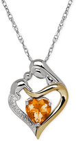 Macy's Citrine (1-1/10 ct. t.w.) and Diamond Accent Mother and Infant Pendant Necklace in Sterling Silver and 14k Gold