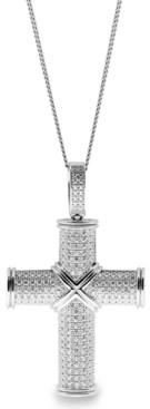 Sutton by Rhona Sutton Sutton Sterling Silver Cubic Zirconia Cross Pendant Necklace