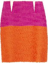 Block-color bouclé skirt