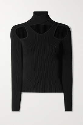 Coperni Cutout Ribbed-knit Top - Black