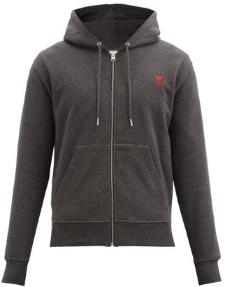 Ami Zipped Organic-cotton Jersey Hooded Sweatshirt - Grey