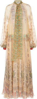 Etro Printed Silk-Chiffon Tie-Neck Maxi Dress