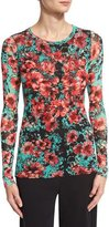 Fuzzi Long-Sleeve Floral-Print Stretch-Tulle Top, Multi