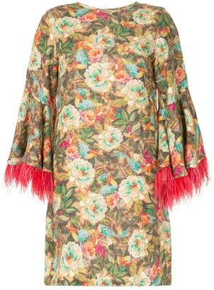 Bambah Floral Feather-Sleeve Dress