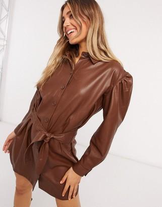 BB Dakota vegan friendly leather belted dress in brown