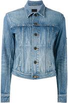 Saint Laurent military patch denim jacket - women - Cotton - S