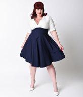 Unique Vintage Plus Size 1950s Style Navy & White Delores Swing Dress