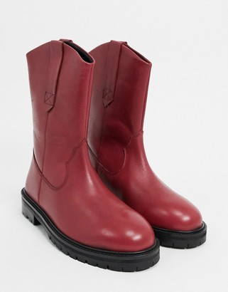 ASOS DESIGN Andy leather pull-on trucker boots in red