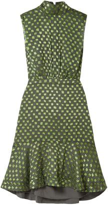 Saloni Fleur Ruffled Fil Coupe Silk-blend Dress