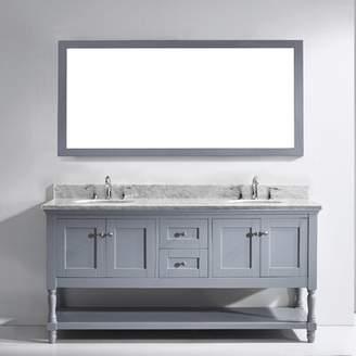 "Gracie Oaks Cicely 73"" Double Bathroom Vanity Set with Mirror Gracie Oaks"
