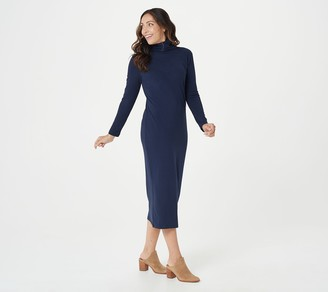 Women With Control Attitudes by Renee Petite Mock Neck Finespun Sheath Midi Dress