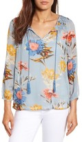 Lucky Brand Women's Tucked Floral Print Peasant Blouse
