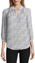 WORTHINGTON Worthington 3/4 Sleeve V Neck Georgette Pattern Blouse