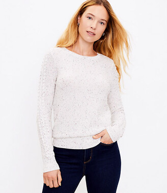 LOFT Petite Flecked Cable Sleeve Sweater