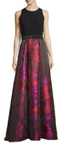 Carmen Marc Valvo Sleeveless Crepe & Floral Taffeta Ball Gown, Fuchsia