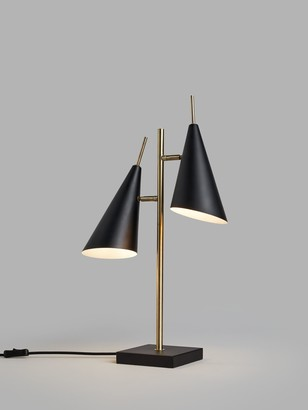 John Lewis & Partners Conic Table Lamp, Black/Brass