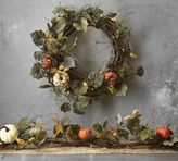 Pottery Barn Lit Natural Pumpkin Wreath & Garland