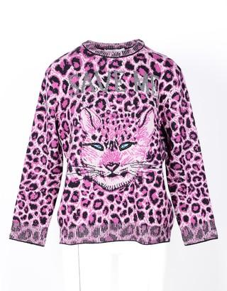 Alberta Ferretti Animal Printed Fuchsia Wool Women's Sweater