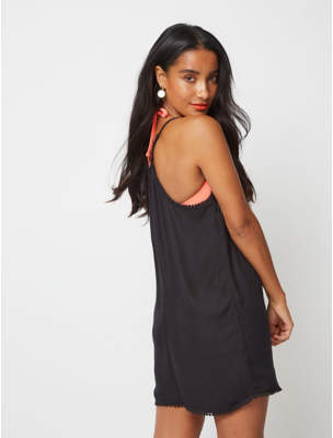 George Black Embroidered Crochet Playsuit Cover Up