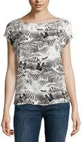 Liz Claiborne Short-Sleeve Zebra Blouse