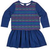 Florence Eiseman Scallop Stripe-Print Dress w/ Solid Skirt, Size 2-6X