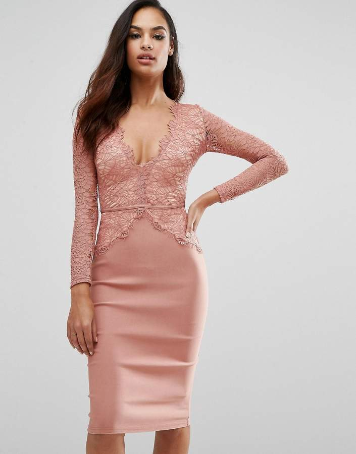 Rare London Plunge Scallop Lace Midi Dress