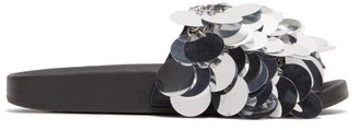 Paco Rabanne Sequinned Rubber Slides - Womens - Silver