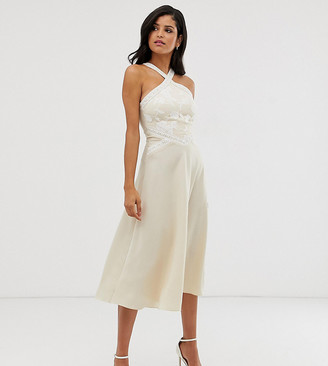 Little Mistress Tall embroidered cross neck midi skater dress in cream