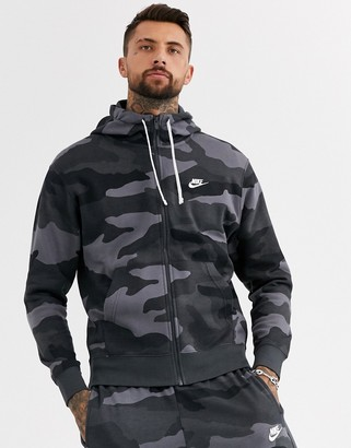 Nike Club zip-through hoodie in camo print-Green