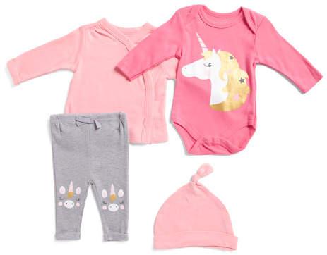 8a6f3f503 Newborn Girl 4pc Unicorn Pant Set With Hat