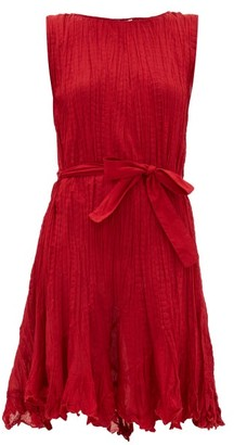 Mes Demoiselles Carla Belted Pleated-cotton Mini Dress - Red
