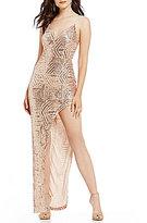 B. Darlin Sequin High Slit Long Dress