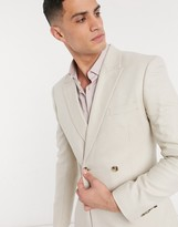 Asos DESIGN skinny double breasted suit jacket in stone texture