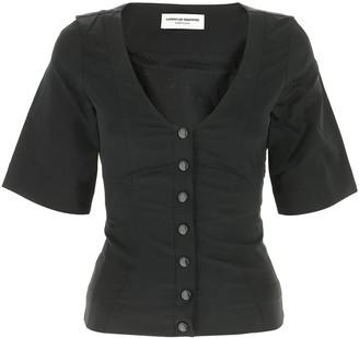 Marine Serre Button-Up Short-Sleeve Blouse