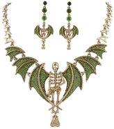 EVER FAITH® Vintage Style Skull Bat Necklace Earrings Set Austrian Crystal Gold-Tone