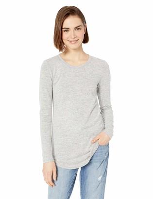 Daily Ritual Women's Cozy Knit Long-Sleeve Shirt with Shirttail Hem