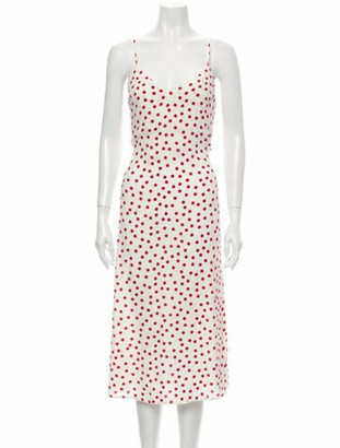 Reformation Polka Dot Print Midi Length Dress w/ Tags White