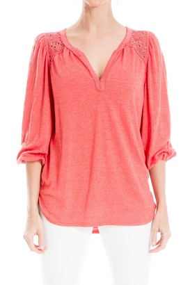 Max Studio Lace Inset 3/4 Sleeve Textured Knit Blouse